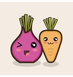 set cartoon food vegetables design vector image