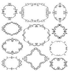 Set hand drawn frames with vignette branches vector