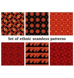 Set of ethnic geometric seamless patterns vector image