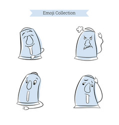 Set vintage emoji electric kettle vector