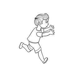 sketch running boy ranaway kid vector image