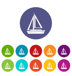 Small boat set icons vector