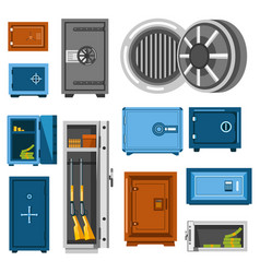 steel boxes saves or money storages isolated vector image