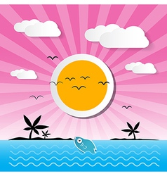 Sunset Ocean Background with Sun Palm Island vector image
