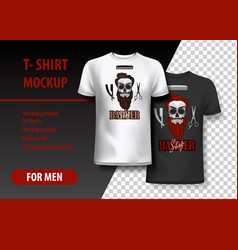 T-shirt template fully editable with barber shop vector