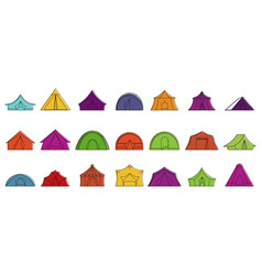 tent icon set color outline style vector image