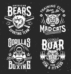 tshirt prints with wild animals sport club mascots vector image