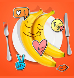 Two funny bananas with emoji faces in love vector