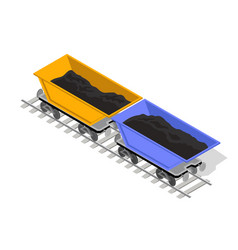 Two minecarts yellow and blue are on rail-truck vector
