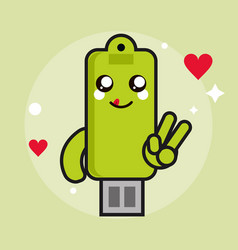 usb kawaii cartoon happy cute icon graphic vector image