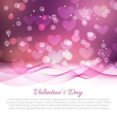 Valentine day card with wave and bokeh effect vector