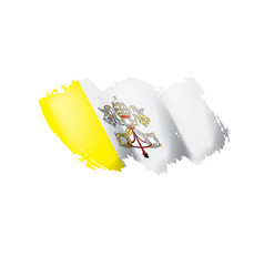 Vatican flag on a white vector