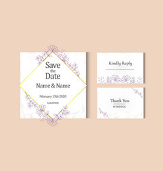 Vintage wedding card with purple and watercolor vector