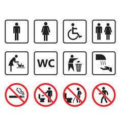 Wc toilet sign set restroom icons and prohibited vector