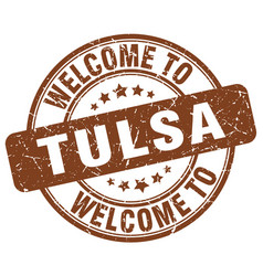 Welcome to tulsa brown round vintage stamp vector