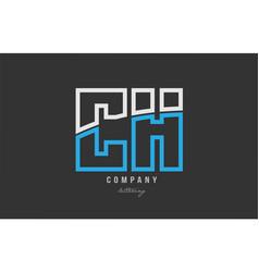 White blue alphabet letter ch c h logo icon design vector