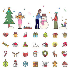 Wintertime activities people and set icons vector