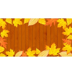 Wooden desk with leaves vector