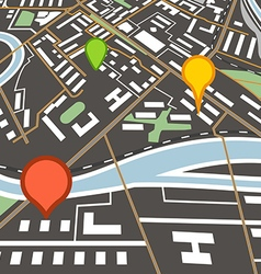 Abstract city map with color pins vector image vector image