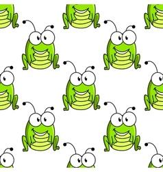 Cartoon green grasshopper character seamless vector image