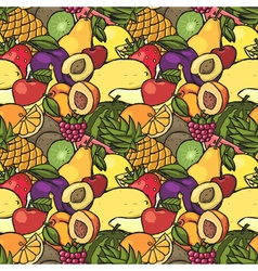 Colorful hand drawn seamless pattern with fruits vector image