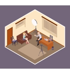 Interview scene Man-employer hires an attractive vector image