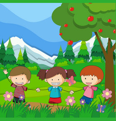 three children playing in the park vector image