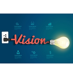 Vision concept with creative light bulb idea vector image vector image