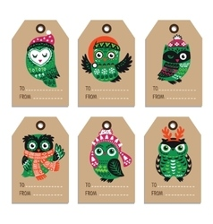 Christmas labels with owls vector image