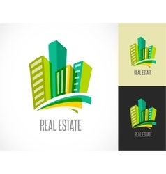 Colorful real estate city and skyline icon vector image vector image