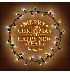 Glowing Varicolored Christmas Lights Wreath vector image
