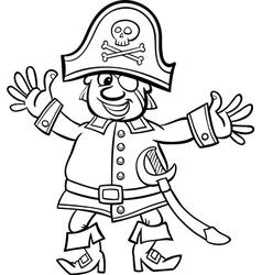 Pirate captain cartoon for coloring book vector
