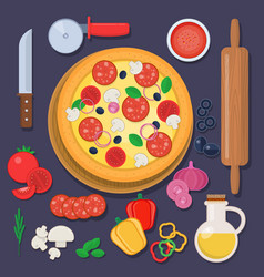 pizza with baking ingredients and rolling pin vector image vector image
