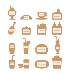 set of fast food icons with place for sample text vector image