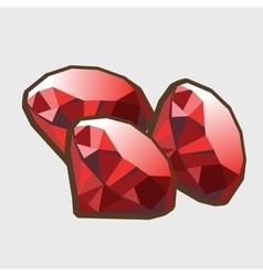 Three stone ruby closeup vector image vector image