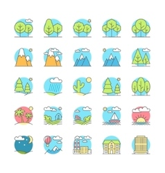 urban village landscapes flat icon set vector image vector image