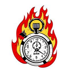 cartoon image of flaming stop watch vector image vector image