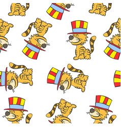 Cute cat circus of pattern doodle vector