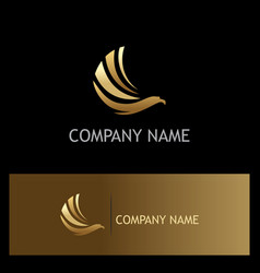 eagle fly wing gold logo vector image