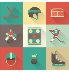 hockey sport icons vector image