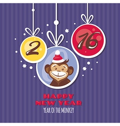 New year greeting card with monkey vector image vector image