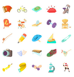 Outside interest icons set cartoon style vector