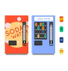Vending machine set Sell snacks and soda drinks vector image
