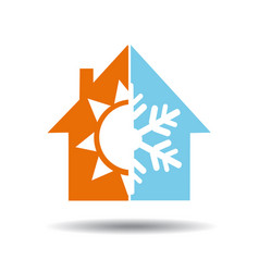 Air conditioning symbol - warm and cold in home vector