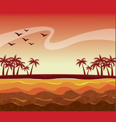 colorful poster sunset sky landscape of palm trees vector image