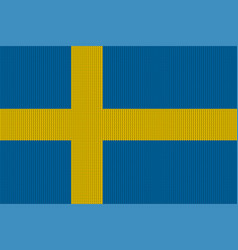 flag of sweden on knitted woolen texture vector image vector image