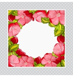 Greeting card with watercolor frame of pink peony vector image
