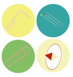 monochrome icon set with paper clips vector image