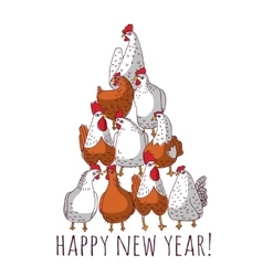New year greeting chicken card with tree vector image vector image