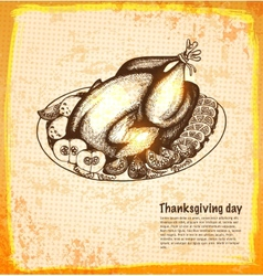 Roast turkey for holiday dinner vector image